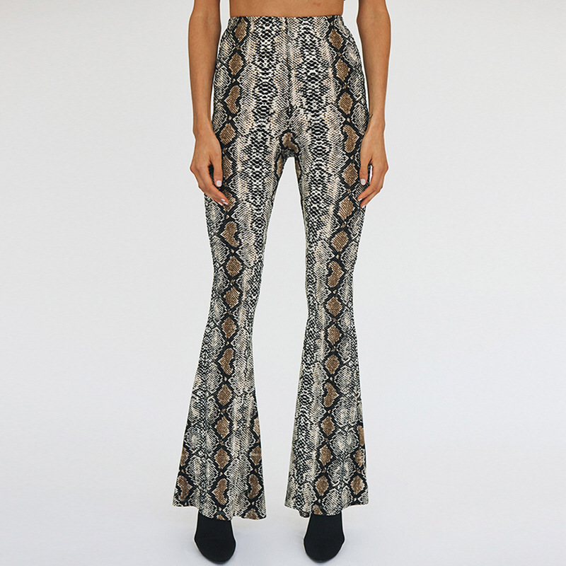 2018 Women Autumn Fashion Snake Skin Print   Wide     Leg     Pants   Sexy Party Club Flare   Pants   Casual Elastic Waist Trousers Pantalones