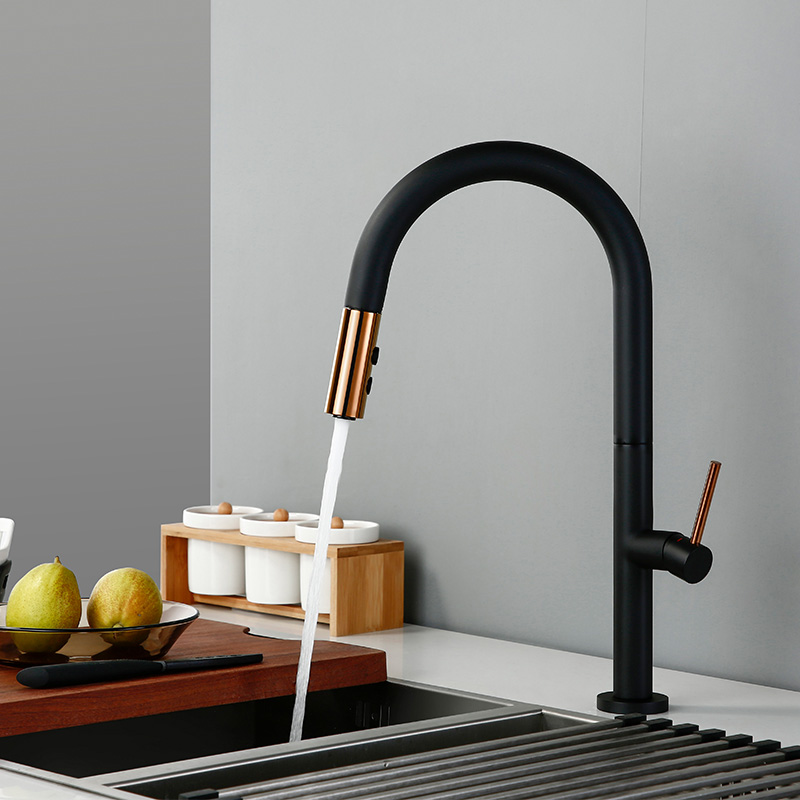 Smesiteli выдвижной вращающийся распылитель Смеситель Для Кухни Матовый Черный кран для холодной и горячей воды с одной ручкой латунный кухонный кран для раковины - 2