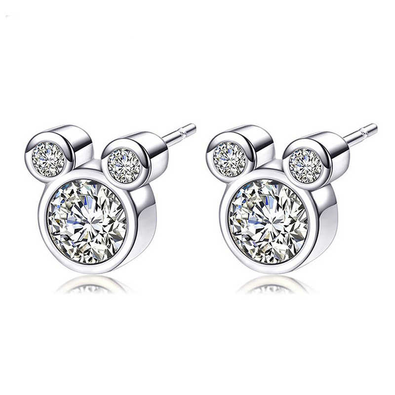 a6dfce7887597 TOGORY Presents Silver Plated Crystal Mickey Shape Brand Stud Earrings  Sparkling Minnie Fashion Jewelry Special Store