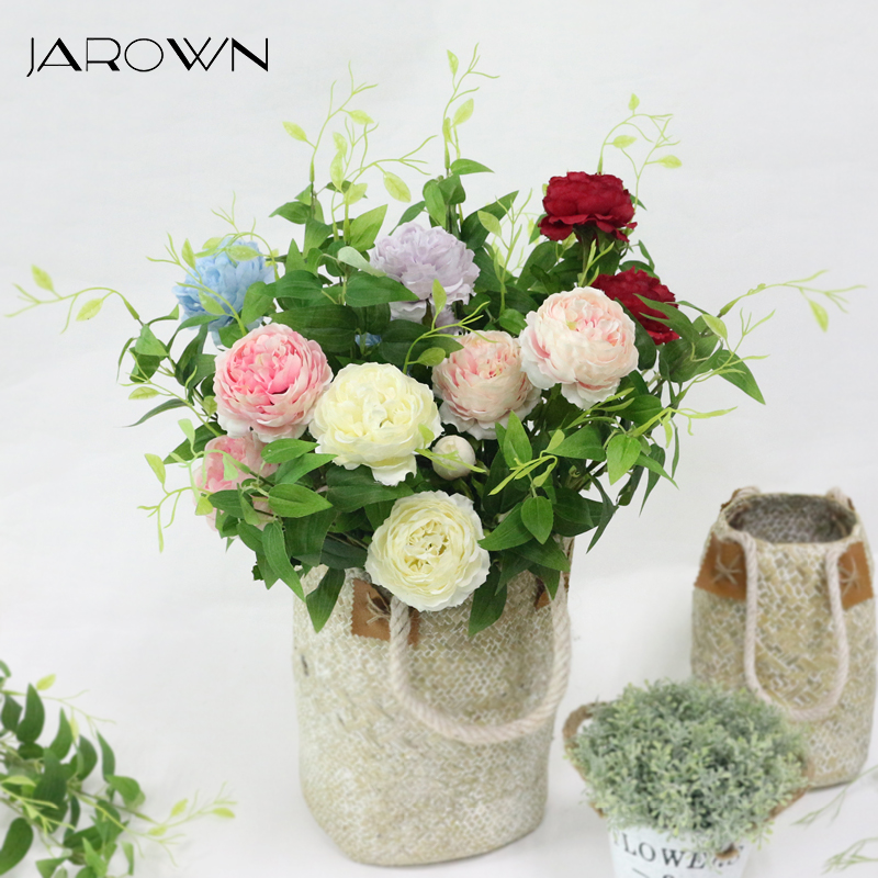 JAROWN Artificial 3 Heads Peony Flowers Branch Simulation Silk Fake Rose Flower For Wedding Decorations Home Party Decor Floers fake rose flowers