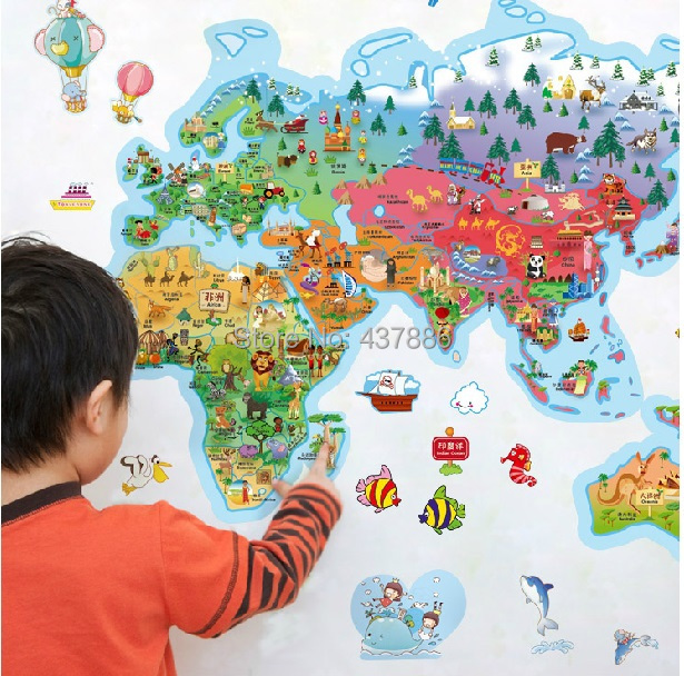 Rice cartoon world map of the world large children real cartoon rice cartoon world map of the world large children real cartoon decoration wall stickers wallpaper world map for kids wall rooms in costume props from gumiabroncs Gallery