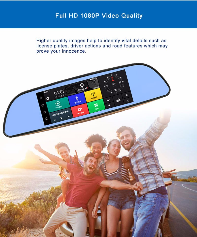 Free 32GB card+3G Car DVR+Android 5.0 Bluetooth GPS WIFI Dual lens rearview mirror camera+FHD1080P camara automovil Phisung H2 14