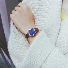 Для женщин кожаный ремешок браслет часы дамы Квадратный Циферблат платье часы для женские часы