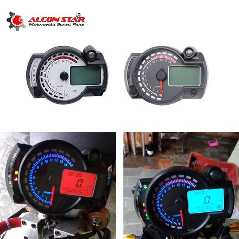 Alconstar- 15000RPM Universal Motorcycle Digital LCD km/h MPH Speedometer KOSO Odometer Tachometer Gauge for 8-22 inch wheel universal readable speedometer gauge panel motorcycle odometer instrument led km h racer atv