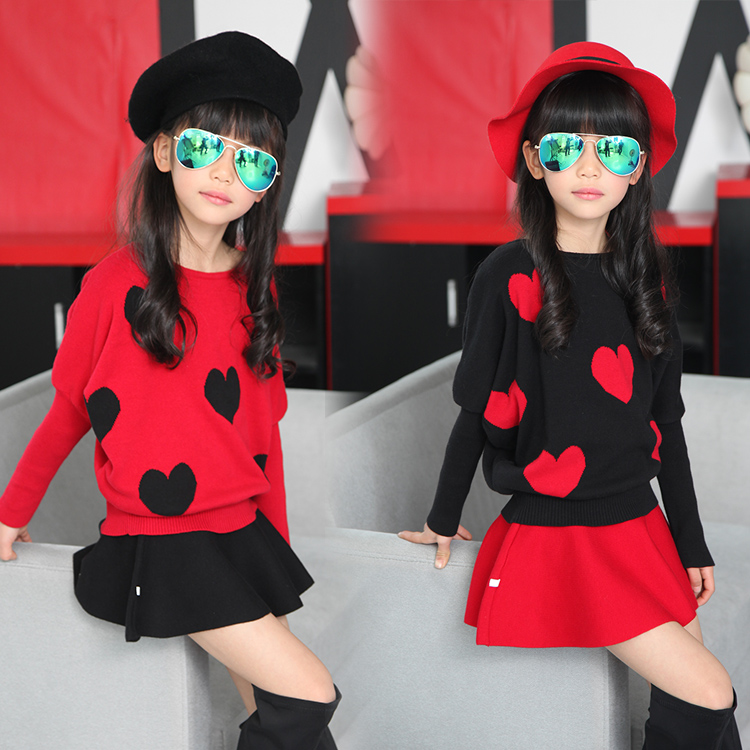 Girls' Clothing Set Winter Fall 2Pcs O-neck Pullover Sweater + Mini Skirt Black Red 1193 la mer collections lmmtw1001
