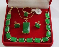 Free shipping .265 Beautiful Natural green Pendant Bracelet Earring Ring Jewellery set