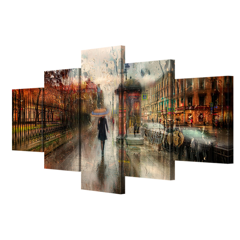 5 pcs No frame canvas art girl walking in the rain poster printed on - Home Decor - Photo 3