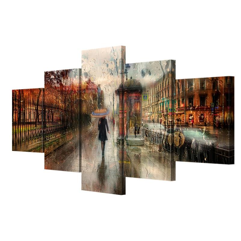 5 adet Hiçbir çerçeve tuval sanat kız yağmurda yürümek poster - Ev Dekoru - Fotoğraf 3