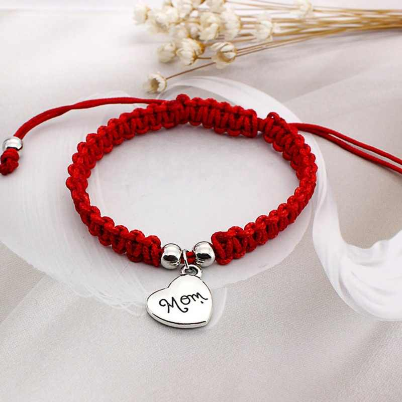 I Love You Mom Red Thread Bracelets Lucky Jewelry For Mum Charm Bracelets Mother's Day Gift Family Bless Bracelete Feminino 2018