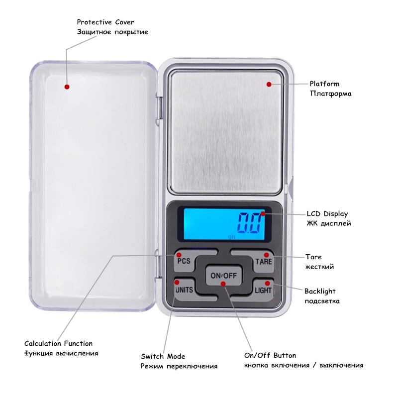 Bilancia tascabile Bilancia digitale per gioielli 0,01 g x 200 g Con - Strumenti di misura - Fotografia 5