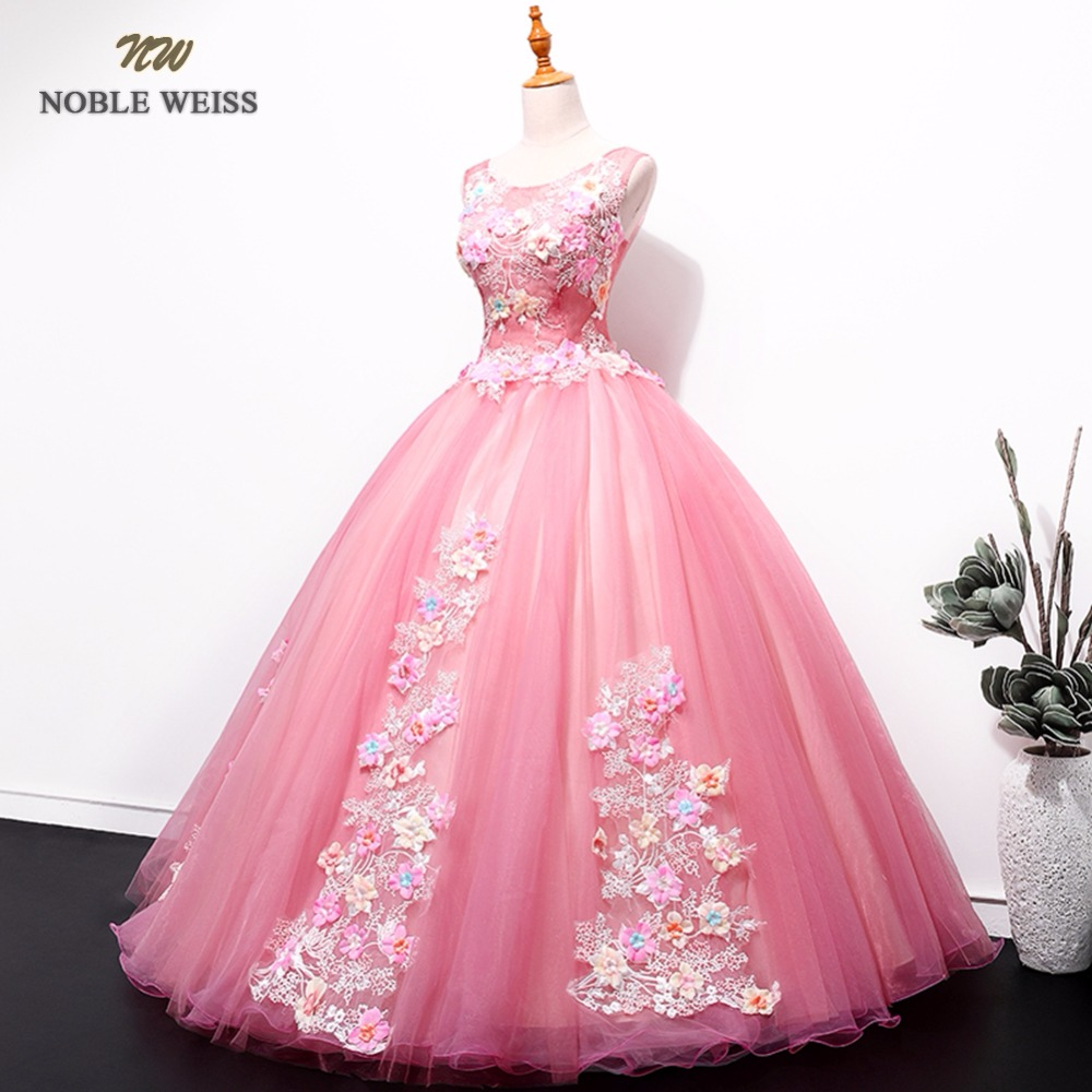 NOBLE WEISS Pink Prom Dresses Flower Appliques Robe De Soiree Ball Gown Sexy New Style Organza Prom Gown