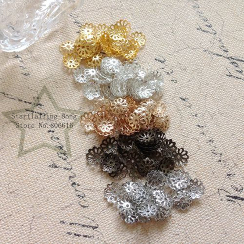 Free Shipping 9MM 400Pcs Metal Little Flower Bead Caps DIY Jewelry Findings & Components