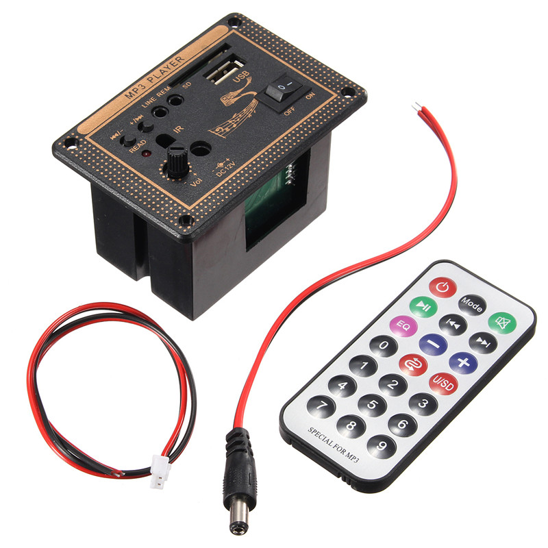 DC12V Mini Car Bass Power Amplifier Mp3 with USB SD Card Readers Remote Control