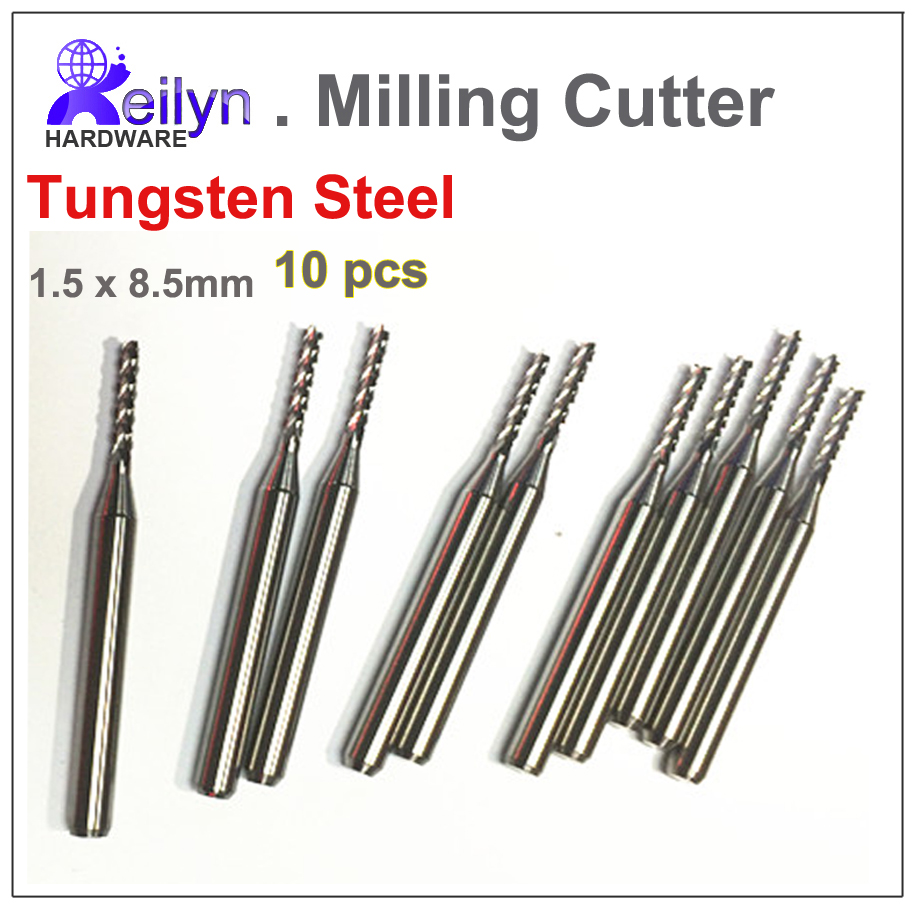 10pcs PCB milling cutter CNC drill bit Engraving mill cutter 1 5x8 5mm  rotary file Carving Machine bits Tungsten Carbide Cutter