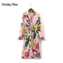 Vintage imprimé floral Kimono robe Chemise Rétro Bandage plissée avant noeud rayé long Cardigan femmes Blouse Tops femme 2017 nouveau