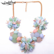 Spring New Flower Colour Girls  Choker Resin Sweet Colour ZA Classic Luxurious Necklace Good Assertion Jewellery8470