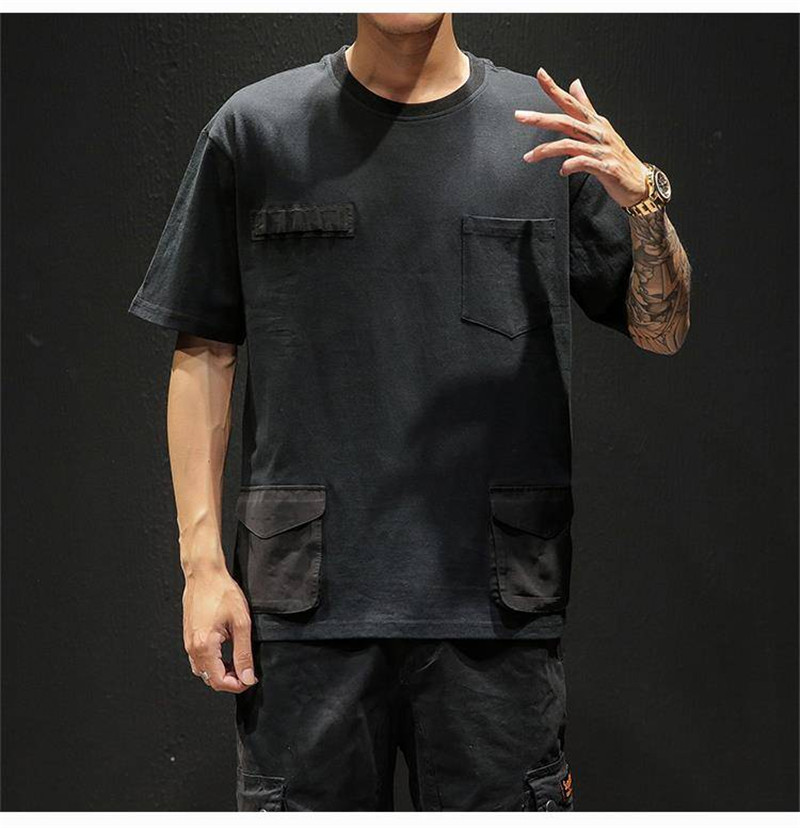 Hip Hop T-shirts Men With pockets Harajuku Oversized Tops Tee Japan Tshirt Streetwear Casual Solid High Street T Shirts Boy 42