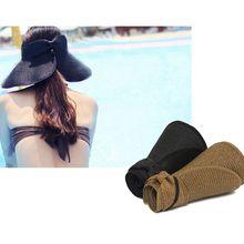 Женская летняя Складная соломенная Солнцезащитная шляпа с открытым верхом, с бантом сзади, регулируемая, дышащая, с защитой от ультрафиолета, с широкими полями, пляжный козырек, кепка, 8 цветов