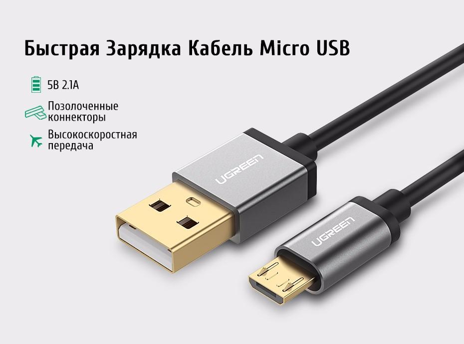 ugreen кабель микро-usb 2.1a быстрая зарядка usb зарядное устройство произвольных кабель 1 м 2 м 3 м мобильный телефон кабель для samsung xiaomi lg android телефон