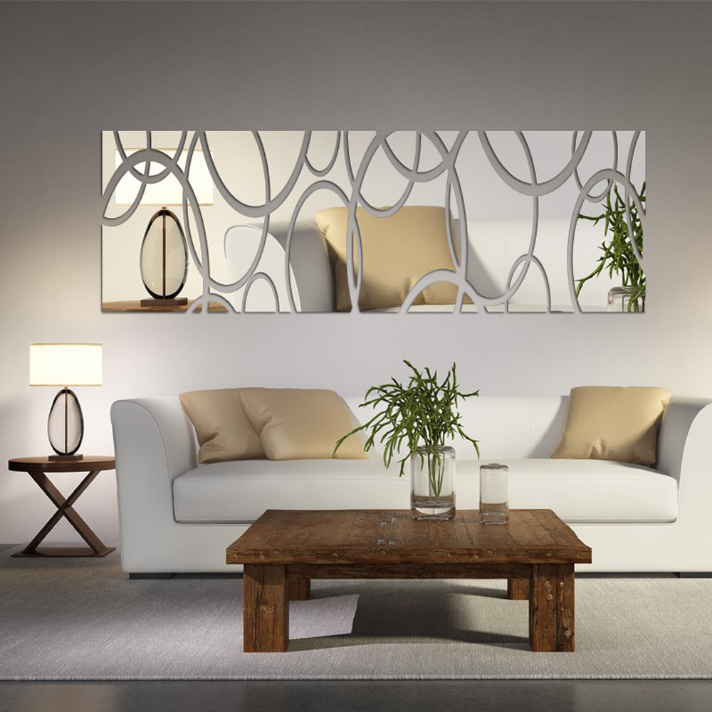 Decorating A Living Room Wall: Acrylic Mirror Wall Decor Art 3D DIY Wall Stickers Living