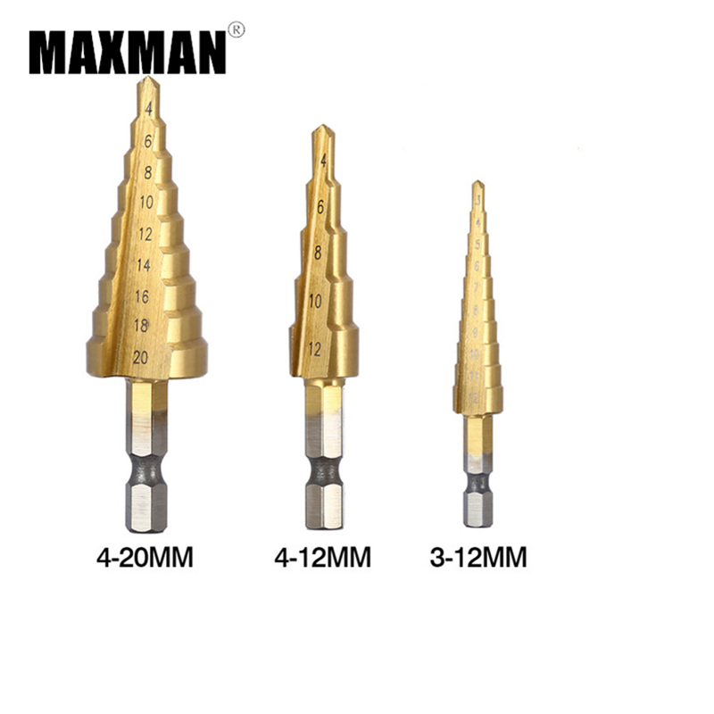 MAXMAN 3pcs HSS Steel Titanium Step Drill Bits 3-12mm 4-12mm 4-20mm Step Cone Cutting Tools Steel Woodworking Metal Drilling Set new 10pcs jobbers mini micro hss twist drill bits 0 5 3mm for wood pcb presses drilling dremel rotary tools