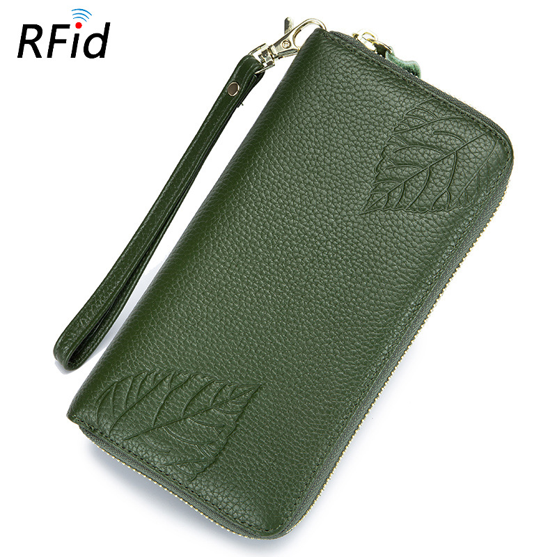 Ladys Long Purse Womens Clutch Bag Luxurious Leaf Totems Real Leather Multi Layer Large Space RFID Long Wallets 5.5 Inch Phone