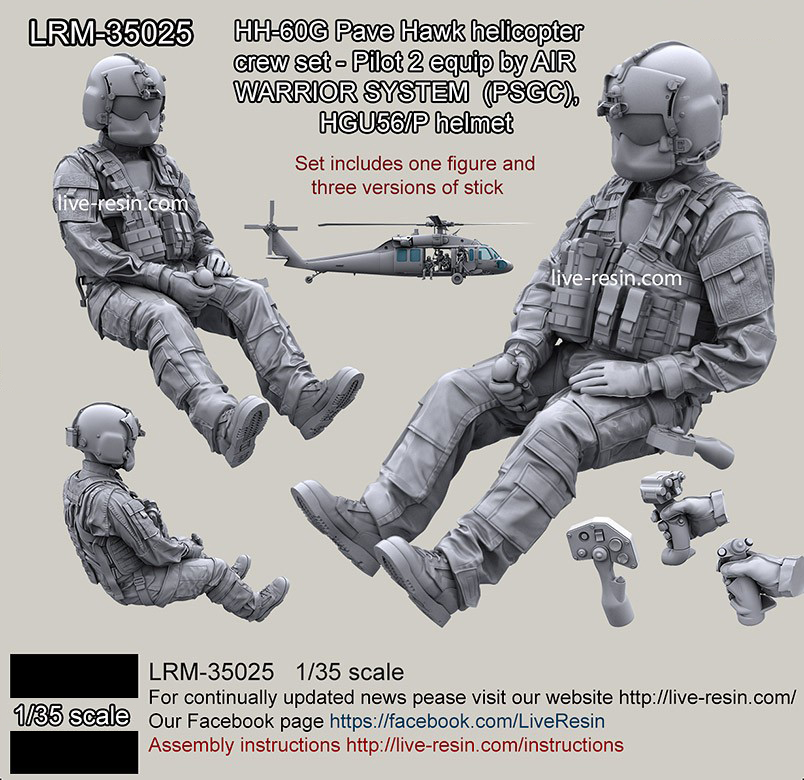 1/35 Scale  Resin Figure Model Kit  Modern US Military Co-pilot Unpainted  LRM35025Y1