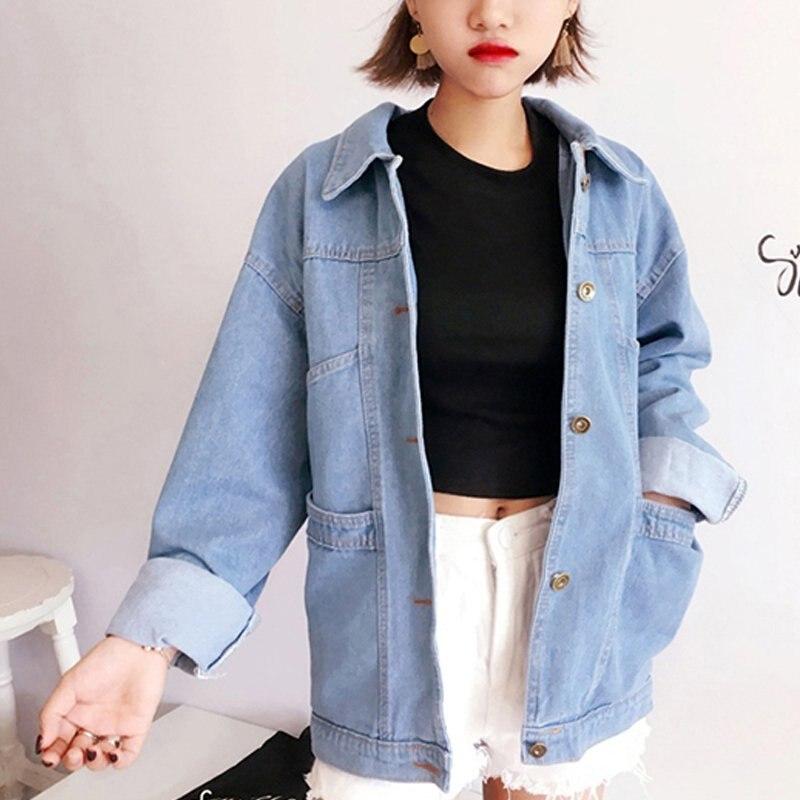 Women 2018 Brand Vintage Denim   Jackets   Loose Female Pockets Jeans Coat Feminino Long Sleeve   Basic   Coats Elegant Bomber   Jackets