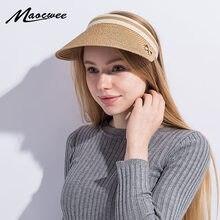 Cute Bow Sun Hat Female Beach Hat Wide Brim Straw Visor Hat Cap Summer Hats  for Women Caps Chapeau Femme Sun Visor Girls 1c45ffc15189