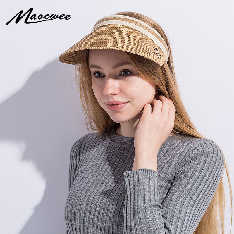 Cute Bow Sun Hat Female Beach Hat Wide Brim Straw Visor Hat Cap Summer Hats for Women Caps Chapeau Femme Sun Visor Girls
