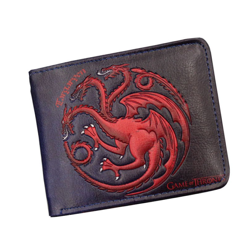 2018 New Arrival Vintage Cool Game of Thrones STARK Targaryen Anime Men Wallets Embroidery Small Coin Ziper Leather Short Purse