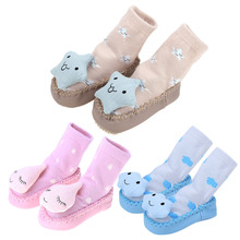 1 Pair cotton Baby socks rubber anti slip floor cartoon kids Toddlers autumn spring Fashion Animal newborn Cute Small Bell