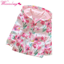 Spring / Autumn Print Hooded Girl Jacket Fashion Zip Print Hooded Flower Baby Girl Jacket Children Clothing rectangle print rib cuff zip up jacket