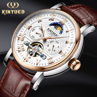 KINYUED Top Brand Luxury Mechanical Watches for Men Moon Phase Automatic Watch Tourbillon Skeleton Sports Clock Steampunk Watchs