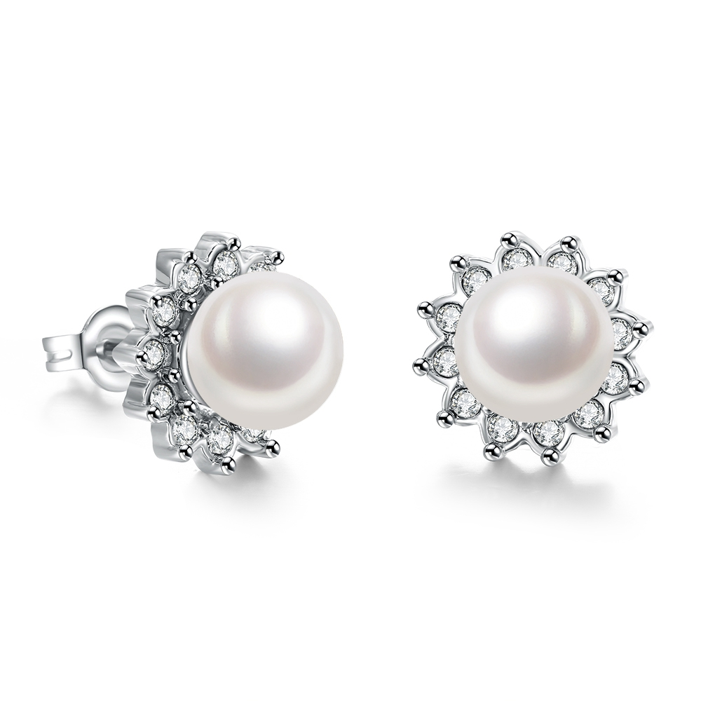 Free Shipping Pearl Earrings,white Gold Colour Genuine Austrian Crystals  100% Handmade Fashion Jewelry