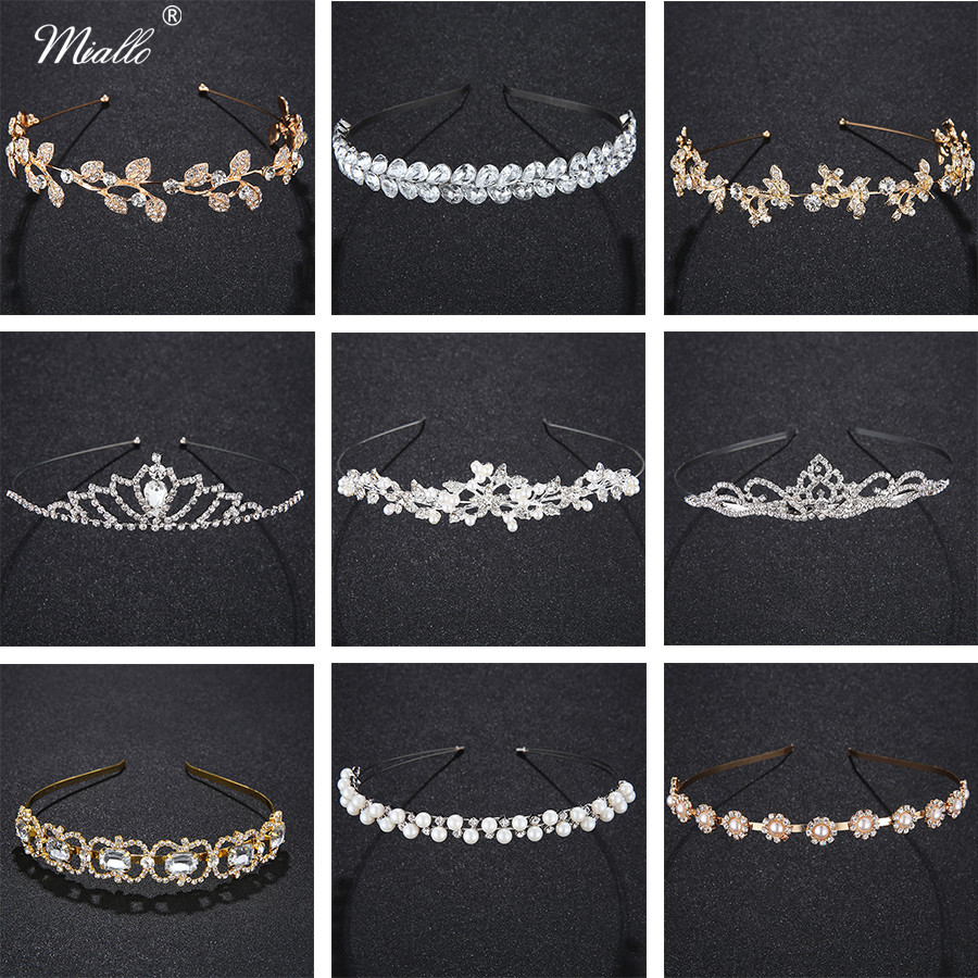 Miallo Tiara Headband for Wedding Leaves Crystal Crown Tiara Headdress for Women Fashion Bridal Hair Accessories Rim for Hair