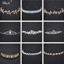 Miallo Tiara Headband for Wedding Leaves Crystal Crown Headdress Women Fashion Bridal Hair Accessories Rim