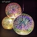 Современный Креативный 3D эффект фейерверка подвесной светильник с E27 лампочкой для спальни бар КТВ кухонный зеркальный шар Подвесная лампа...