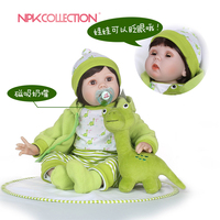 NPKCOLLECTION Cute 22in55cm cotton body simulation baby doll with lovely green clothes and plush toy silicone reborn baby dolls