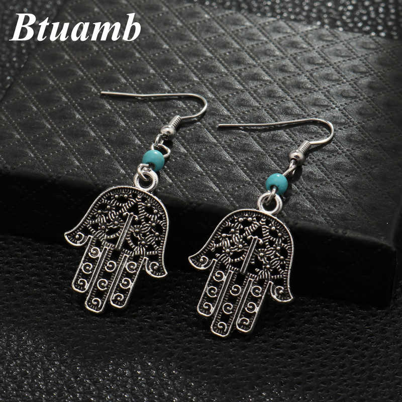 Btuamb Bohemian Big Hollow Hamsa Hand Dangle Earrings Vintage Ethnic Beads Earrings for Women Tribal Jewelry Femme Brincos Gypsy