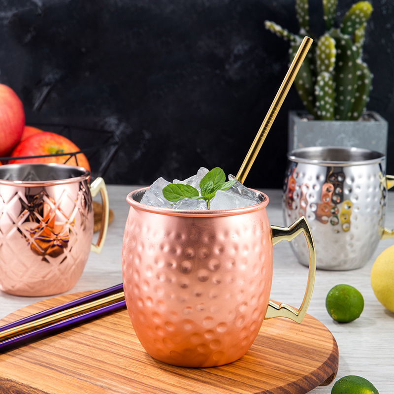 500ml Stainless Steel Moscow Mug for Chilled Beer Iced Coffee Tea Vodka Gin Rum Tequila Whiskey Mixed Cocktail Cup Drinkware image