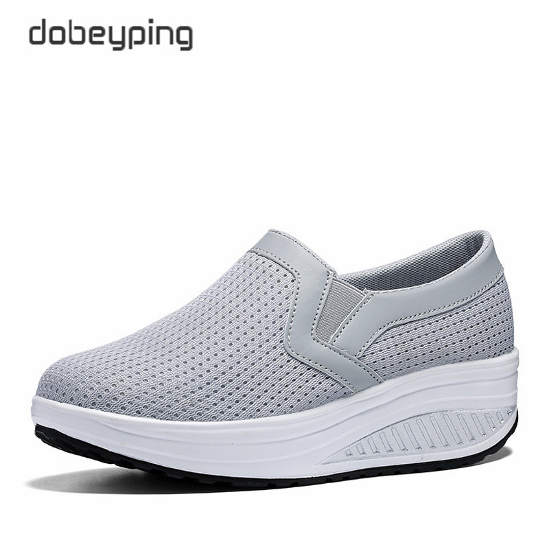 Image 2 - Women's Swing Shoes Air Mesh Woman Loafers Flat Platforms Female Shoe Casual Wedges Ladies Shoes Height Increasing Footwear-in Women's Flats from Shoes
