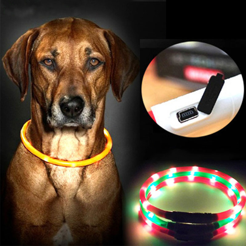 New Adjustable USB Charging Fluorescent LED Luminous Dog Collars Pet Supplies Flashing Collar Safety