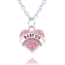 Charm Pink Crystal Heart Necklace 'BIG SIS MIDDLE SIS LITTLE SIS BABY SIS' Sister Birthday Gifts Women Girl Jewelry