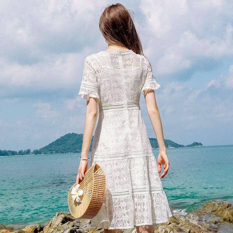 2018 collo Vestito Plus Nuovi Delle Elegante Flare Donne Size V Di Pizzo Estate Fuori Manica Bianco Scava Arrivi zIwqqHd