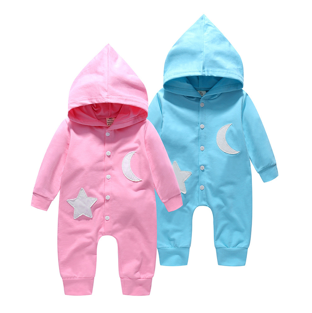Toddler Infant Baby Girls Boys Star And Moon Hooded Romper Jumpsuit Outfits