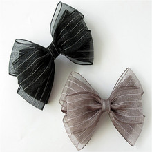 Korea Hair Accessories Striped yarn Hairgrips Gray Pink Big Bow Hair Clips For Girls Crystal  Hair Bows Hairpins Barrette multi function automatic fishing gear lazy alarm fishing tackle hook double hook automatic fishing launcher