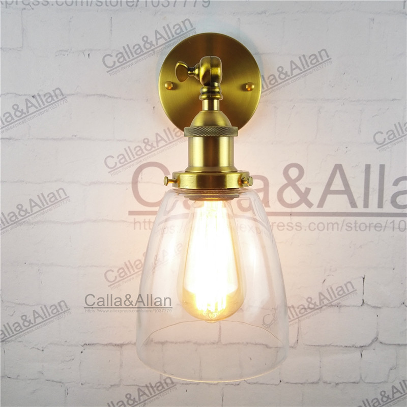Free shipping bronze finished clear glass shade antique wall light sconce E27 AC110V/220V edison vintage brass retro wall lamp
