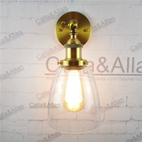 Free Shipping Bronze Finished Clear Glass Shade Antique Wall Light Sconce E27 AC110V 220V Edison Vintage