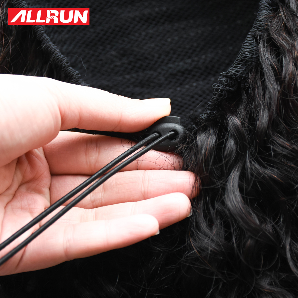 Allrun Afro cheveux perruque queue de cheval cordon court non Remy crépus queue de poney Clip en cheveux humains crépus bouclés péruvien cordon bouffée - 6